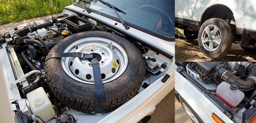 запасное колесо под капотом нивы 2121