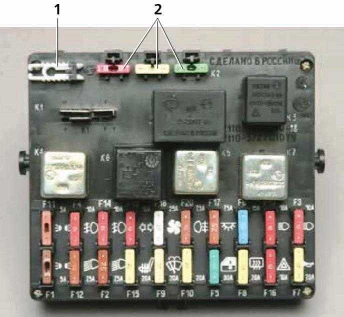 блок предохранителей нивы шевроле содержит предохранители и реле управления электрикой